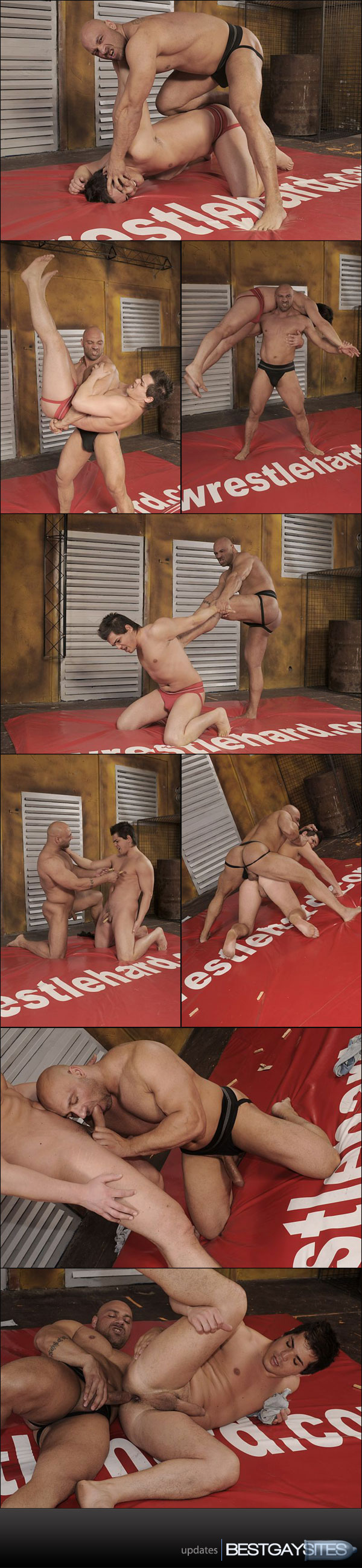 The bulging muscle-man battles David in a rip-n-strip wrestling match, ...